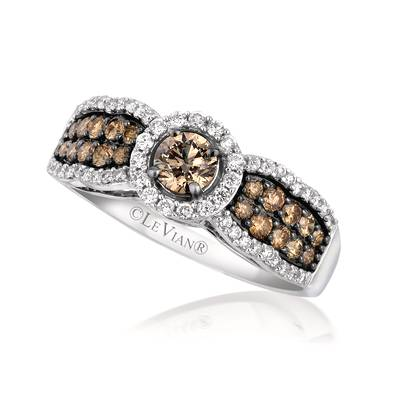14K Vanilla Gold® Ring with Chocolate Diamonds® 5/8 cts., Vanilla Diamonds® 1/4 cts. | YQJH 72